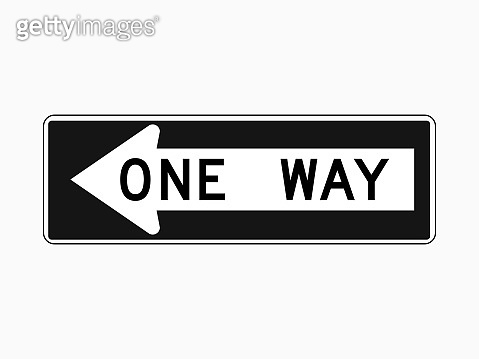 isolated road sign, one way, left white arrow symbol with black text and thin line stroke on white background, simple flat vector design.