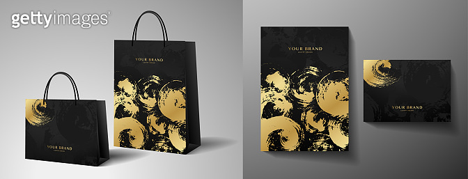 Luxury shopping paper bag design. Template with gold and black print