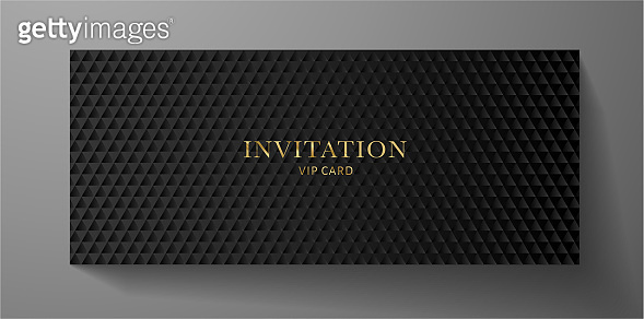 Premium VIP Invitation template with abstract black triangle pattern (carbon texture) on background