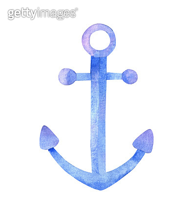 Watercolor illustration of an anchor cut out on white background