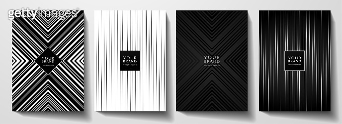 Modern black cover, frame design set. Geometric creative line pattern in premium colors: black and white