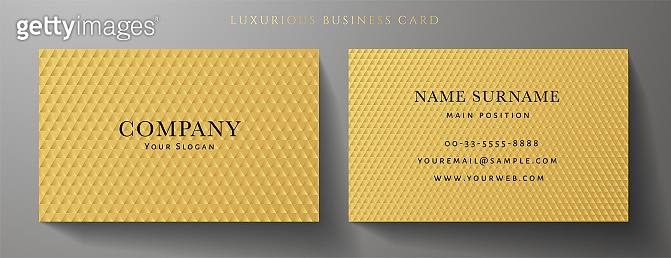 Business card with luxury abstract gold triangle pattern (golden carbon texture)