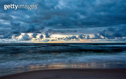 Sunset over Baltic Sea in Lubiatowo, Pomerania, Poland