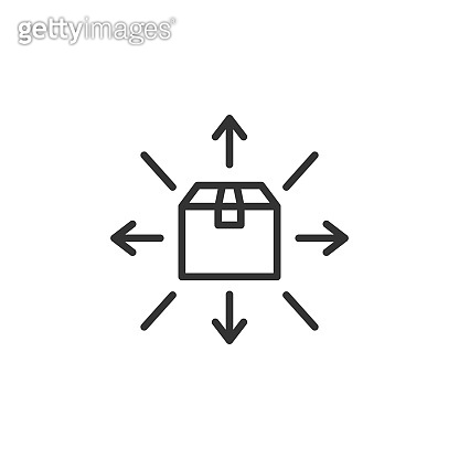 Distribution outline icon. Box with arrows. Vector illustration.