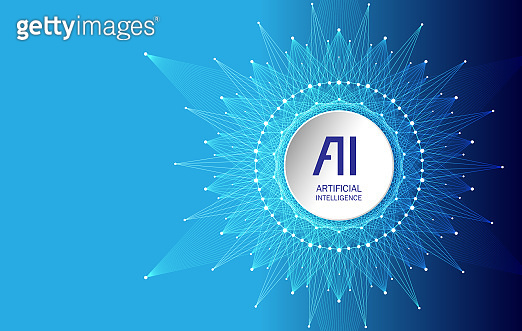 Artificial Intelligence Logo. Artificial Intelligence and Machine Learning Concept. Vector symbol AI. Neural networks and another modern technologies concepts.