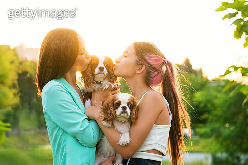 Female Owner Walk the Dog