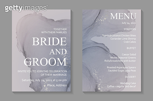 Wedding invitation with gray watercolor waves or fluid art in alcohol ink style with silver glitter.