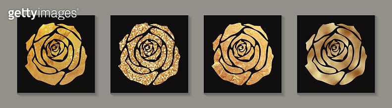 Golden luxury glittering roses.