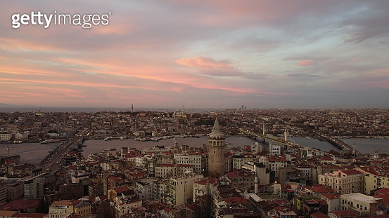Turkey's largest city at dawn. Aerial view of Galata tower in Istanbul, Turkie. European part of the city.