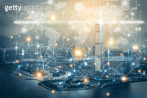 Smart city and communication network technology concept. IoT(Internet of Things). ICT Information Communication Network modern device media cloud graphics, Elements of this image furnished by NASA