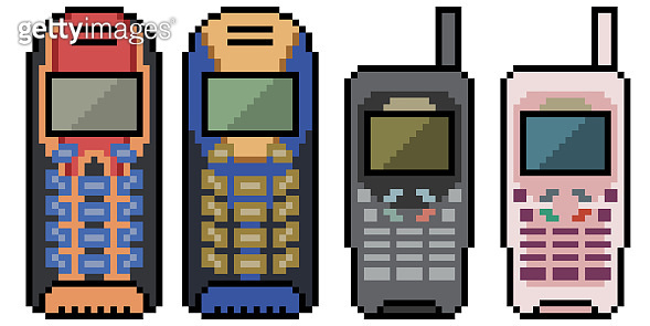 pixel art of outdated mobile phone