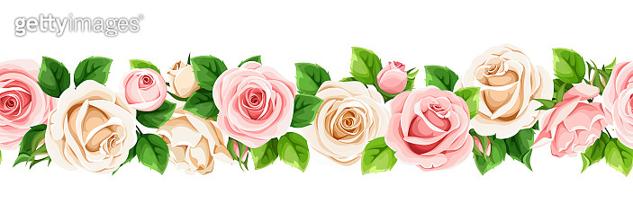 Horizontal seamless border with pink and white roses. Vector illustration.