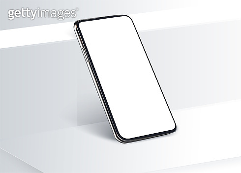 White cubic boxes with a mobile phone on wall background for displaying or advertising the product. Realistic 3D mobile phone in rotated position, frameless blank mobile phone modern device template
