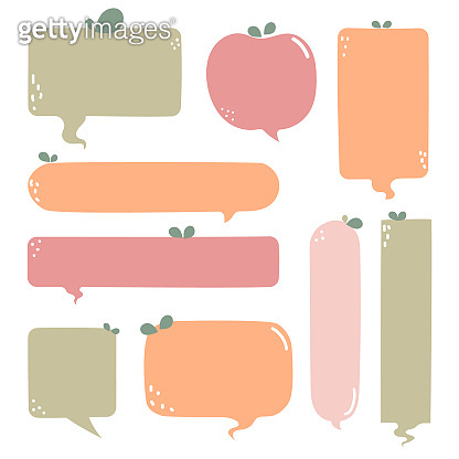 collection set of hand drawn line frame border, blank speech bubble balloon green and red apple circle and square shape, think, speak, talk, text box, banner