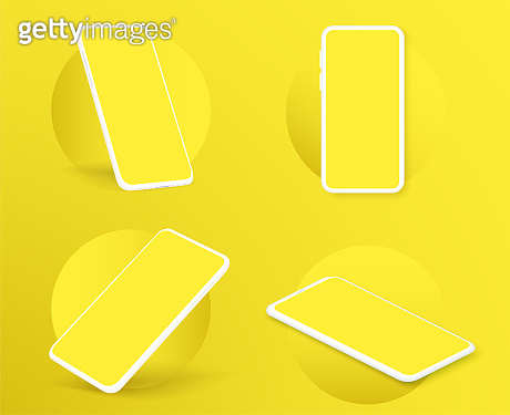Realistic smartphone mockup. in rotated position. Mobile from different angles with blank screen. Template for presentation 3D device. Vector illustration for banner, flyer, business card.