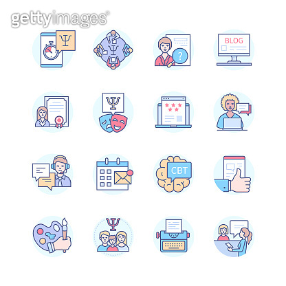 Psychology and types of therapy - line design style icons set