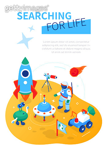 Searching for life - modern colorful isometric web banner