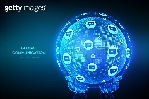 Global communication concept. World map point and line composition. Planet Earth globe with dialog speech bubbles icons in hands. Worldwide communication and social media. Vector Illustration.
