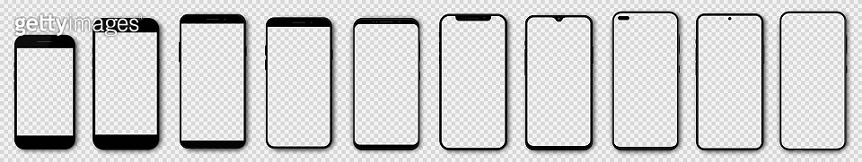 Set high quality realistic trendy different black models smartphone with empty touch screen and shadow front view. Detailed mockup smartphone, model 3D mobile phone, app, ui, ux, front view.