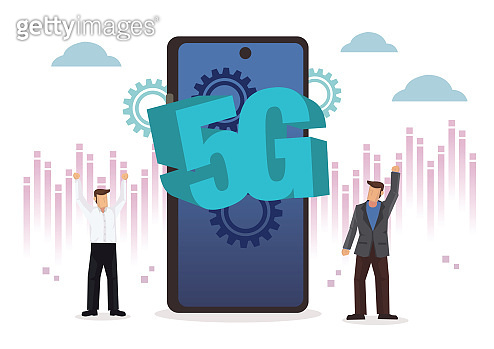 5G with mobile phone and businessmen