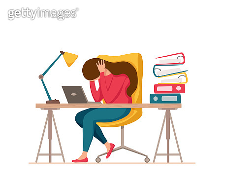 Professional burnout syndrome exhausted woman tired sitting at her workplace in office holding her head vector illustration. Concept of emotional burnout, stress, tiredness, mental health problems.