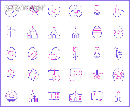 Set of easter and Christianity icons line style.