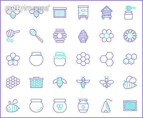 Set of bee and honey Icons line style.