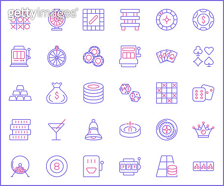 Set of Casino and Gambling Icon line style.