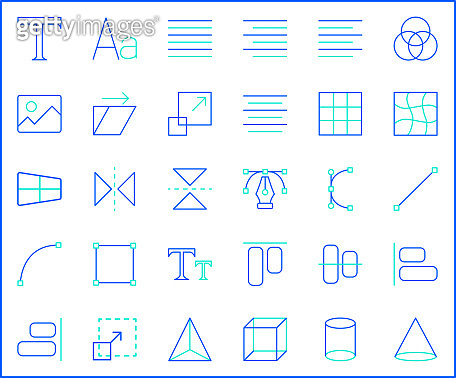 Set of graphic and designing icons line style.