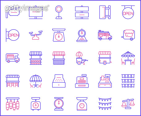 Set of vendor and store Icons line style.
