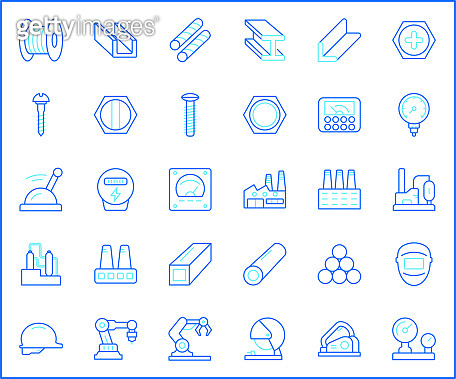 Set of Factory and industrial Icon line style.