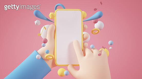 Cartoon hand holding yellow blank smartphone