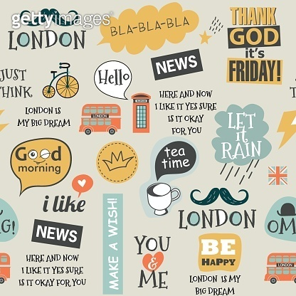 childish british newspaper style seamless vector pattern
