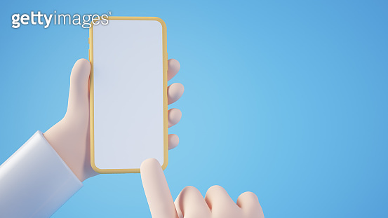 Cartoon hands holding mobile phone