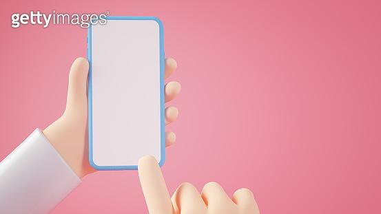 Cartoon hands holding blank smartphone