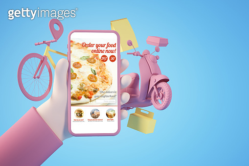 Shopping food online app concept