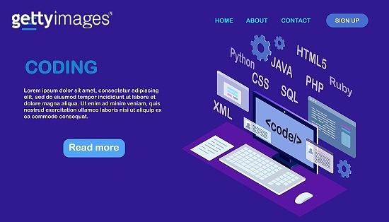 Software development, programming language, coding. Digital technology. Isometric laptop, computer. Vector illustration