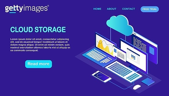 Cloud storage technology. Data backup. Isometric laptop, computer with phone. Hosting service