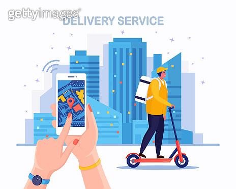 Fast delivery service by kick scooter. Courier delivers food order. Hand hold phone with mobile app. Online package tracking. Man travels with a parcel around the city. Vector illustration