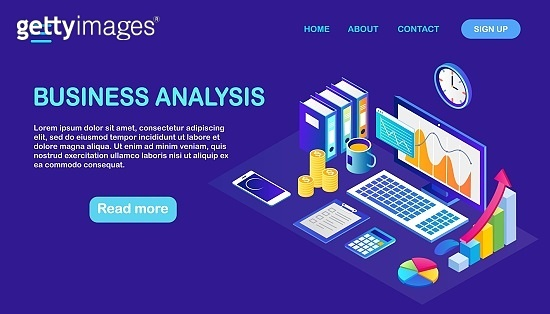 Data analysis. Digital financial reporting, seo, marketing. Business management, development. Vector illustration