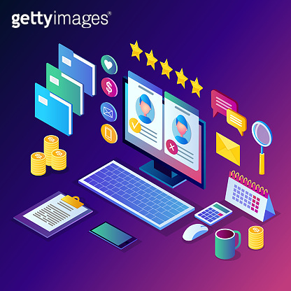 Recruitment. 3d isometric computer, laptop, pc with cv resume, folder, stars. Human Resources, HR. Hiring employees. Job interview. Vector design for banner