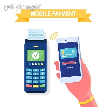 Payment machine with credit, debit card. POS terminal, nfc device with white mobile phone. Transfer, pay by contactless system. Vector cartoon design