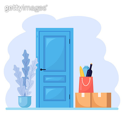 Contactless delivery during coronavirus. Safe food delivery. Paper bag with grocery order, carton box, parcel near door. Quarantine rules. Vector illustration