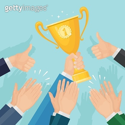 Clap of the hands. Businessman clapping to winner. Man holds trophy cup. Applause, cheer, ovation. Vector illustration