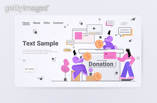 businesspeople donating money for new project business people putting coins in donate box crowdfunding concept