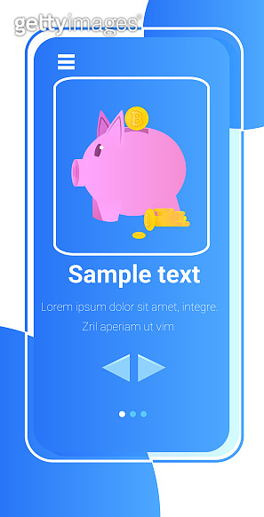 piggy bank on smartphone screen investment earning finance success savings concept vertical