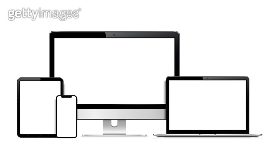 Device screen mockup. Smartphone, tablet, laptop and monoblock monitor with blank screen.