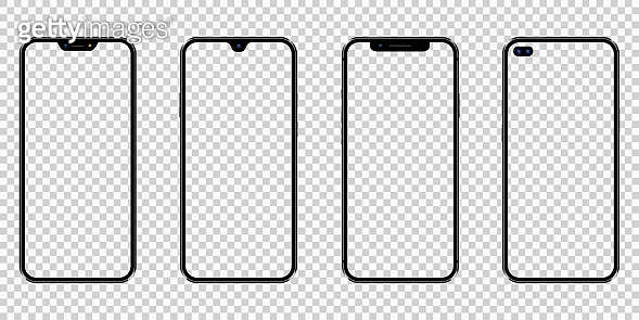 Set of realistic new mobile phones with transparent screens. Cellphone frame with transparent blank display isolated templates.