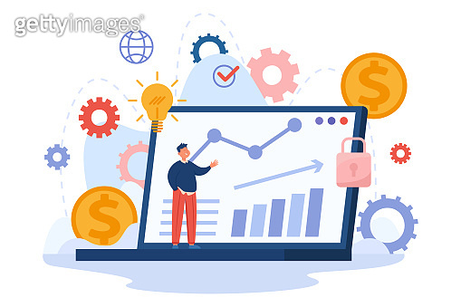 Tiny cartoon man on laptop background with financial charts