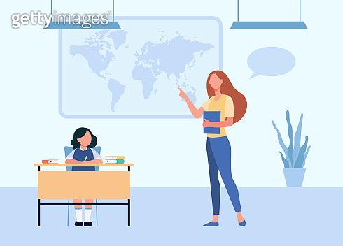 School teacher explaining geography lesson